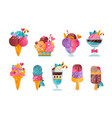 flat set ice-cream with gradients and vector image