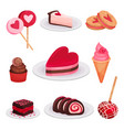 flat set of tasty desserts for valentine s vector image