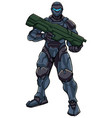 futuristic soldier standing vector image vector image