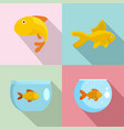goldfish and fishbowl icons set flat style vector image vector image