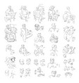 hand drawn icon set of man sketch vector image
