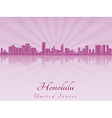 Honolulu skyline in purple radiant orchid vector image vector image