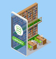 isometric online library app for reading vector image