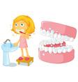 Little girl brushing teeth vector image vector image