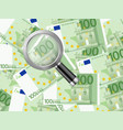magnifier on one hundred euro background vector image vector image