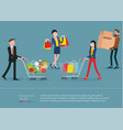 men and women with shopping bags and carts vector image