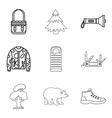 mountain landscape icons set outline style vector image