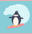 penguin on the wave kawaii background vector image
