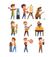 people hobby set cartoon male characters vector image vector image