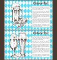 pilsner tulip beer glass and mug with snack poster vector image vector image