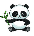 pixel cute panda detailed isolated vector image