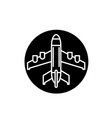 plane landing black icon sign on isolated vector image