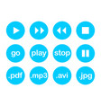 Play button or flat blue web icon set isolated