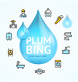 plumbing concept with blue water droplet vector image vector image