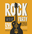poster for rock party with live music vector image