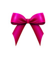 realistic shiny red satin bow isolated vector image vector image