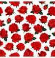 red rose flower seamless pattern background design vector image