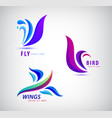 set bird fly wings logos abstract vector image
