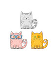set cute cats vector image vector image