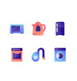 set icons with washer teapot fridge oven vector image