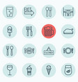 set of 16 cafe icons includes wineglass soda vector image