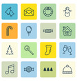 set of 16 celebration icons includes knitted cap vector image vector image