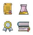 set of school elements pixel art vector image