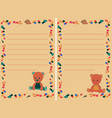 set tag with teddy bear and toys for boy and girl vector image