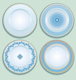 set white porcelain plate with blue ornament vector image