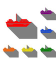 ship sign set of red orange yellow vector image vector image