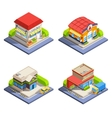 Shop Isometric Buildings Set vector image vector image