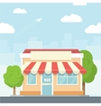 Small shop urban landscape in flat design style vector image