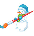 snowman with brush vector image vector image