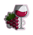 sticker glass of wine with grape icon vector image vector image