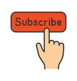 subscribe button click color icon vector image
