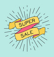 super sale poster with ribbon and vintage light vector image vector image