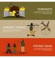 Three Terrorism Flat Banner Set vector image vector image