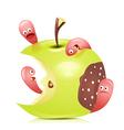 Worm eaten rotten apple 3D vector image