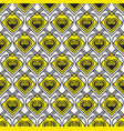 yellow and black pattern with heart vector image vector image