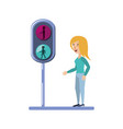 young woman with traffic light pedestrian vector image vector image