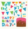 happy birthday greeting design elements vector image
