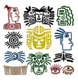 tribal face drawings set vector image