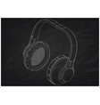 3d model of headphone on a black vector image vector image