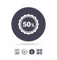 50 percent discount sign icon sale symbol vector image vector image