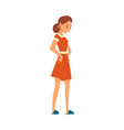 angry woman character in red dress mother vector image vector image