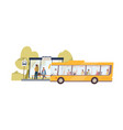 arrived bus with passengers and people waiting vector image vector image