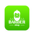 barber shop icon green vector image vector image