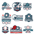 baseball icon templates set of player bat vector image vector image