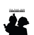best mom with child silhouette in black vector image vector image