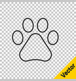 black line paw print icon isolated on transparent vector image vector image